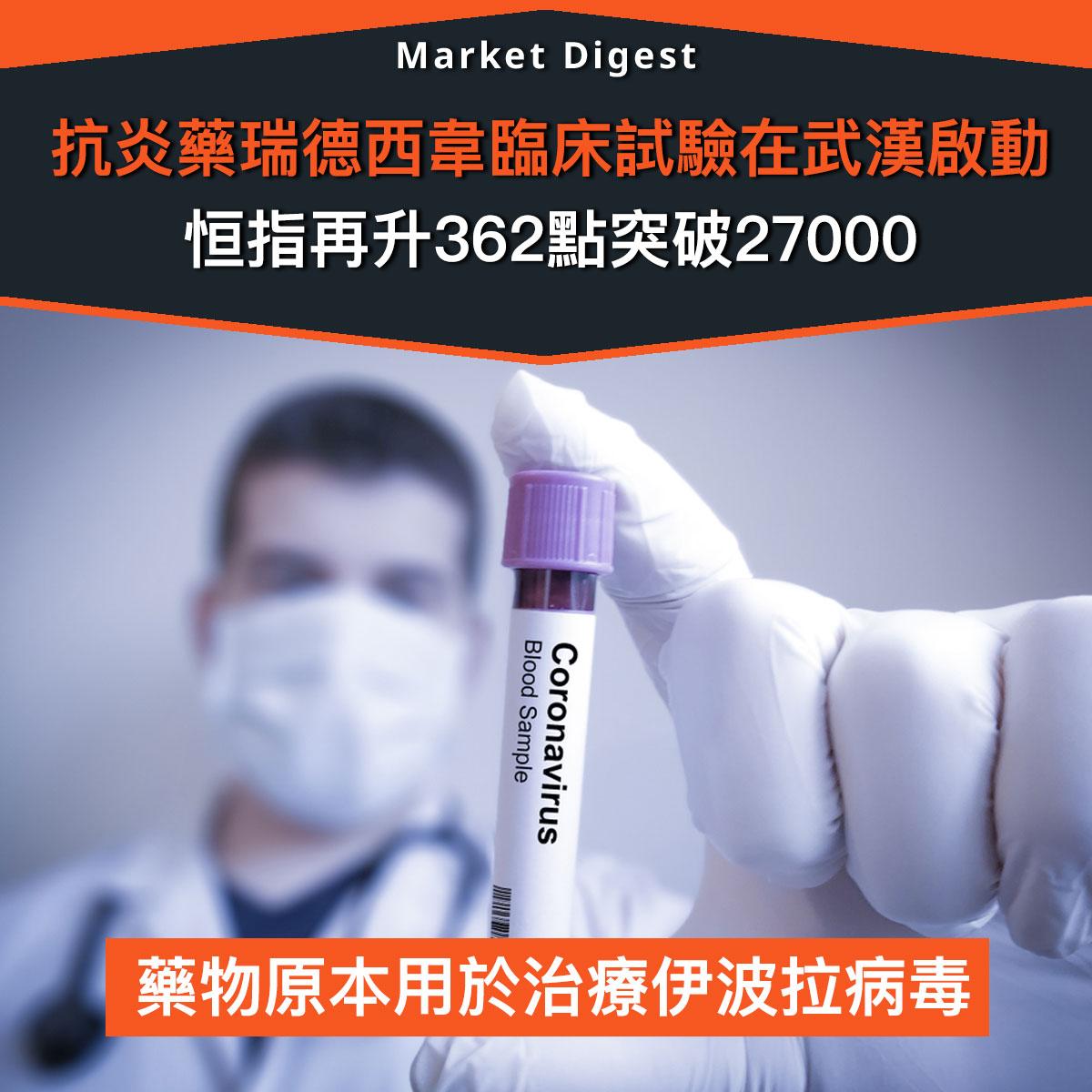 【市場熱話】抗炎藥「瑞德西韋」在武漢臨床試驗,恒指再升362點有望四連升