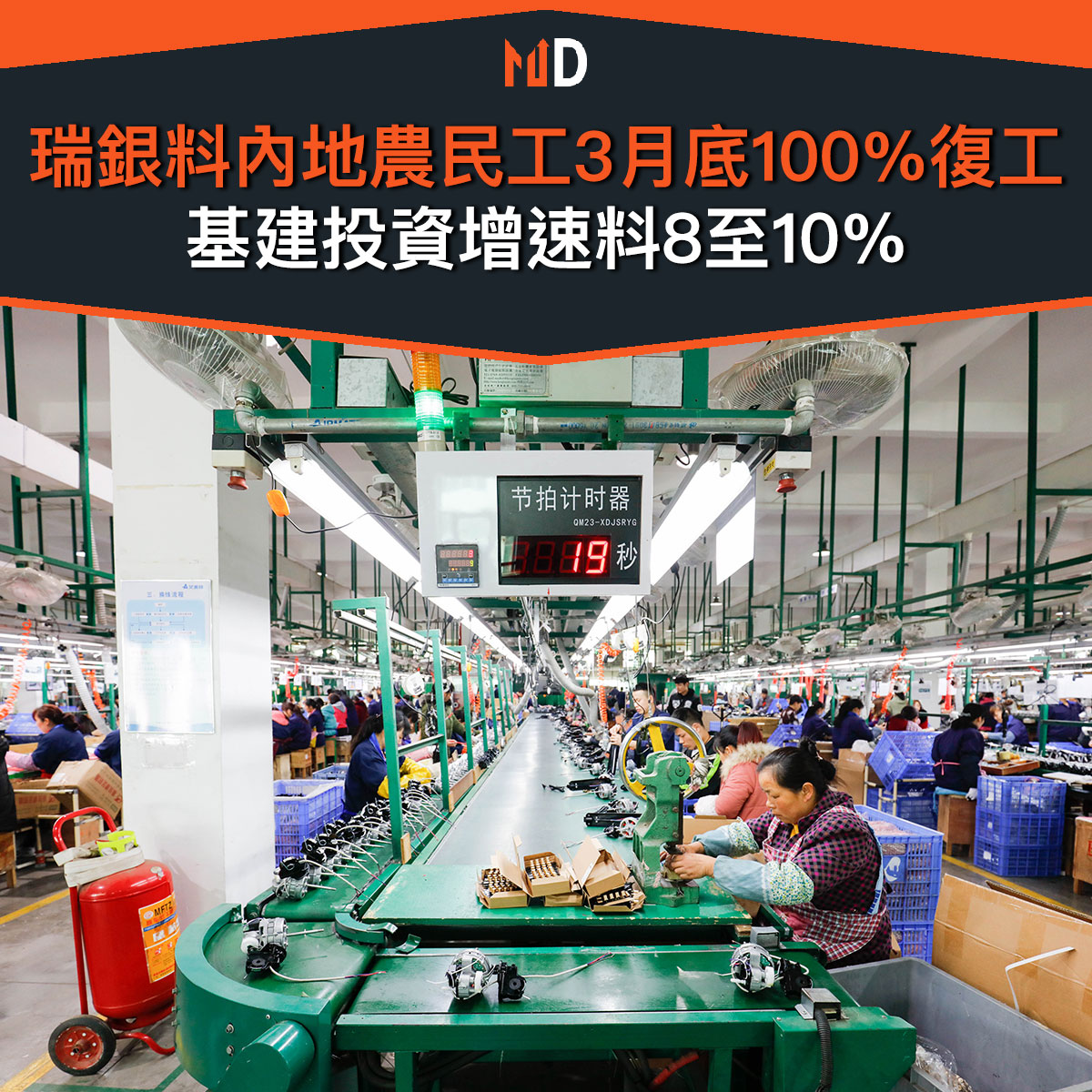 【市場熱話】瑞銀料內地農民工3月底100%復工基建投資增速料8至10%