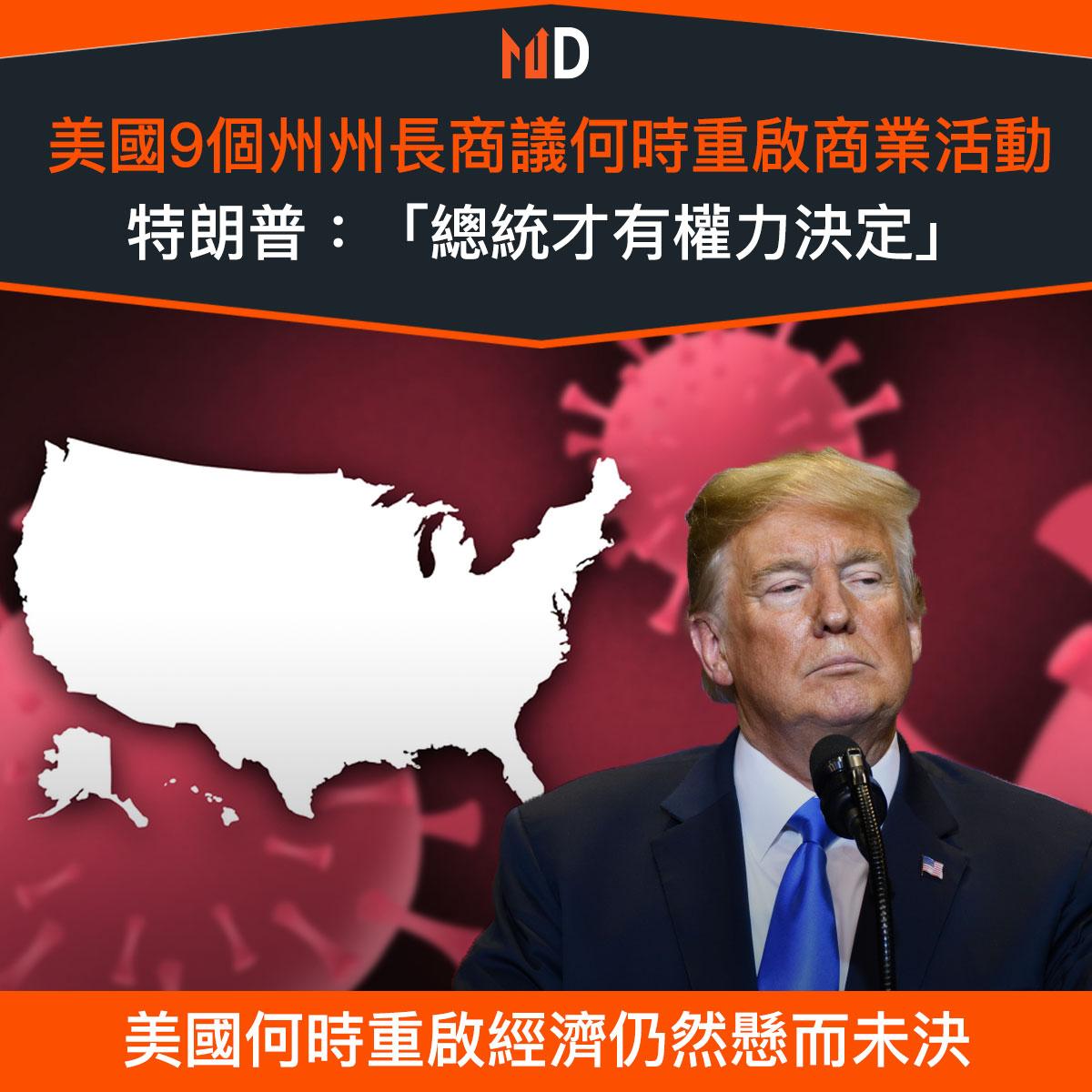 【市場熱話】美國9個州州長商議何時重啟商業活動,特朗普:「總統才有權力決定」