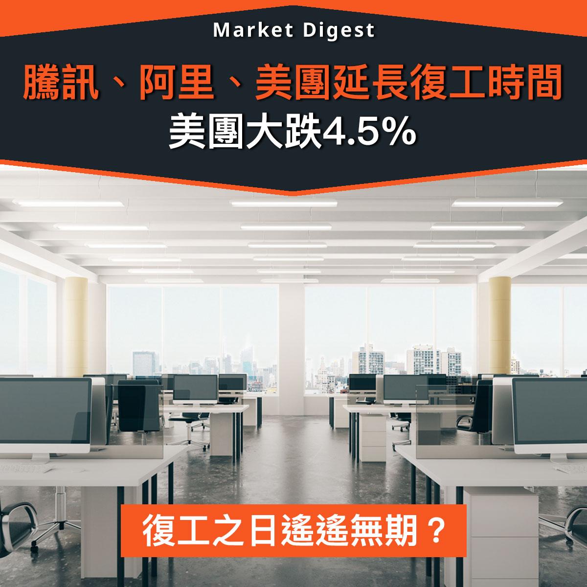 【武漢肺炎】騰訊、阿里、美團延長復工時間,美團大跌4.5%