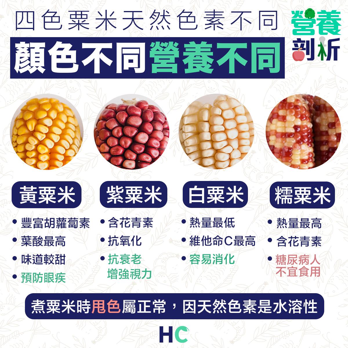 四色粟米天然色素不同 營養大不同