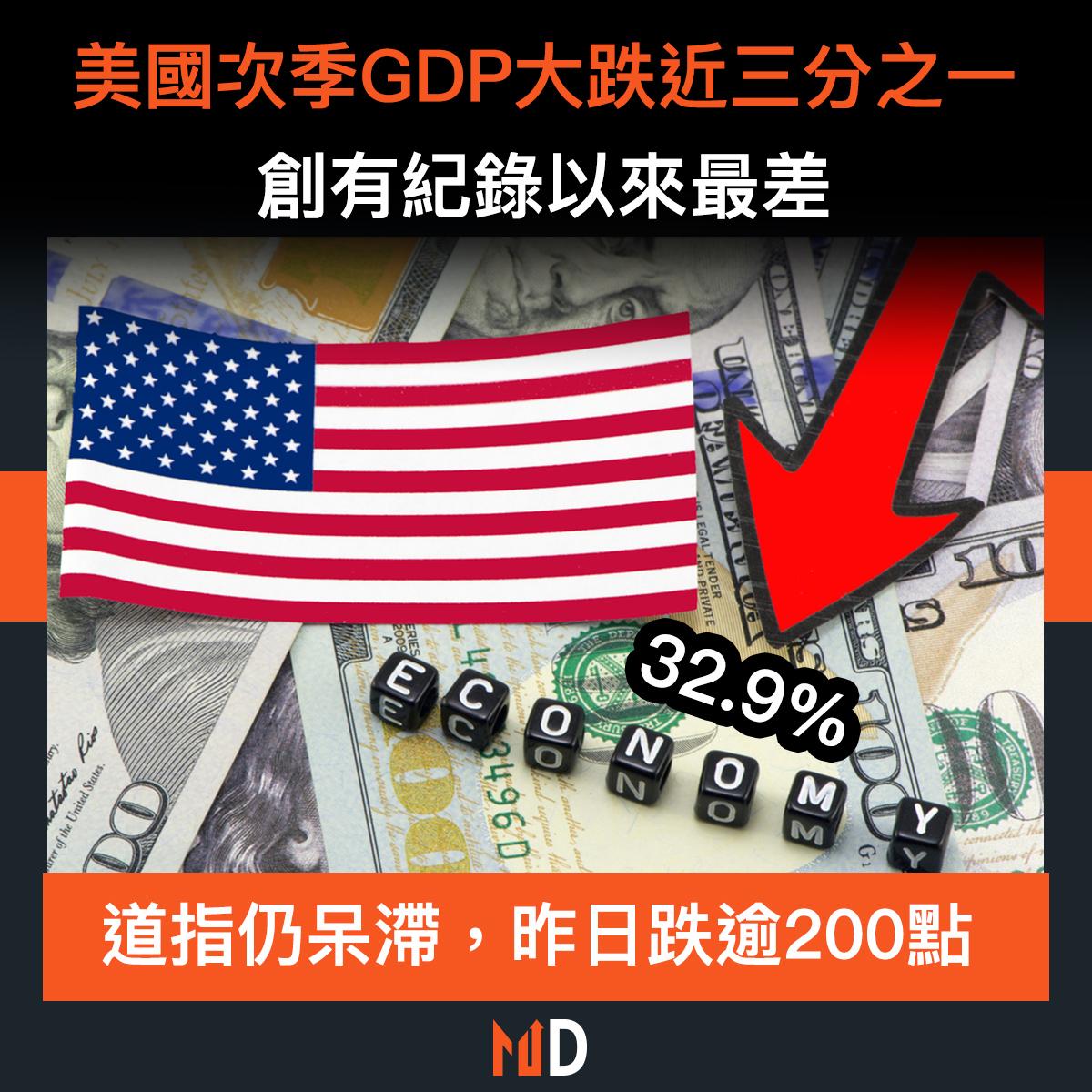 【市場熱話】美國次季GDP大跌近三分之一,創有紀錄以來最差