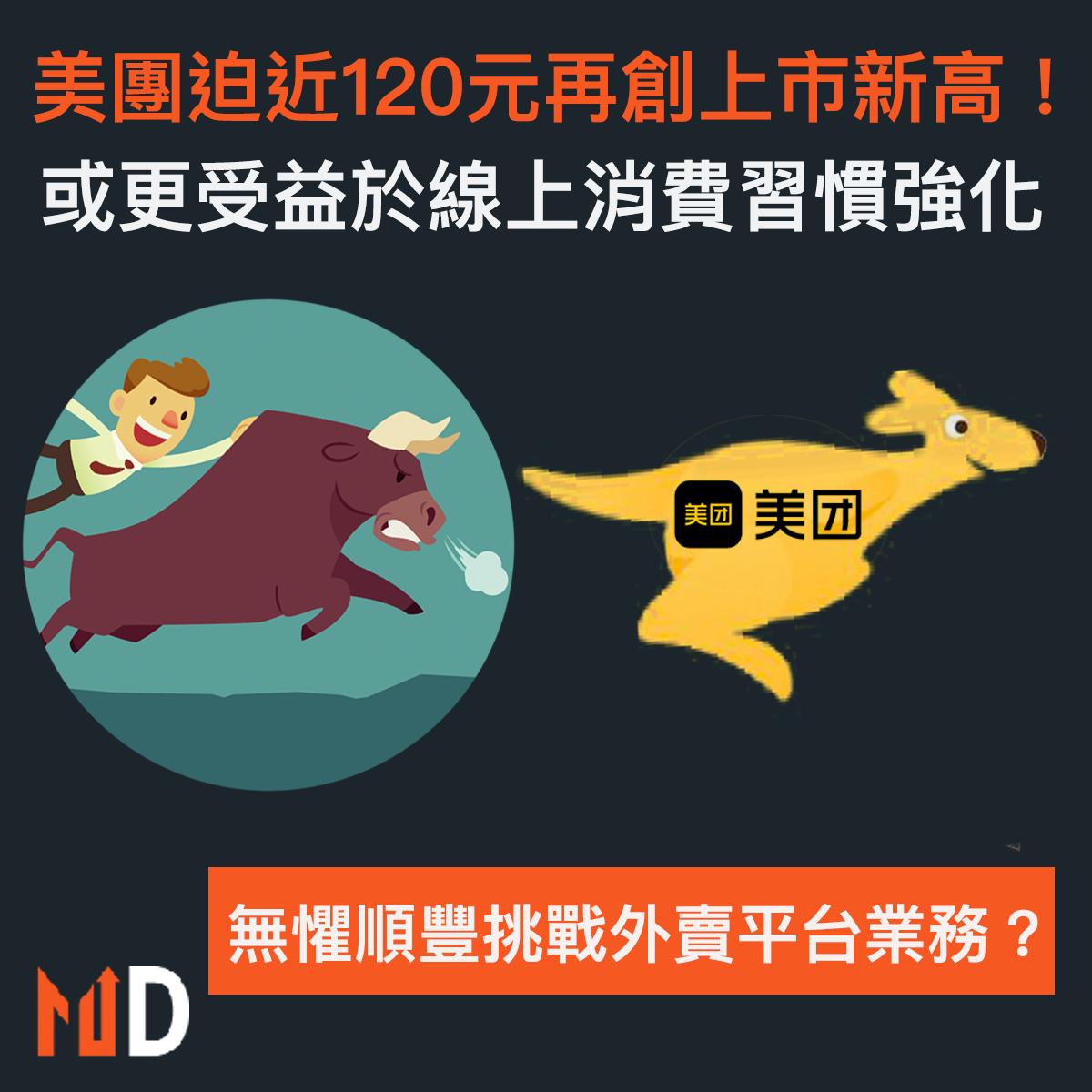 【市場熱話】美團再創上市新高!單日升7%迫近120元