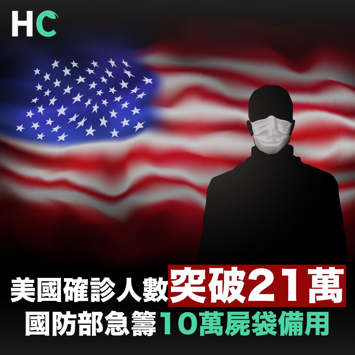 【#武漢肺炎】美國確診人數突破21萬 國防部急籌10萬屍袋備用