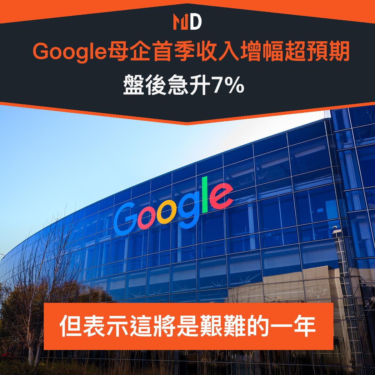【#市場熱話】Google首季收入增幅超預期,盤後急升7%