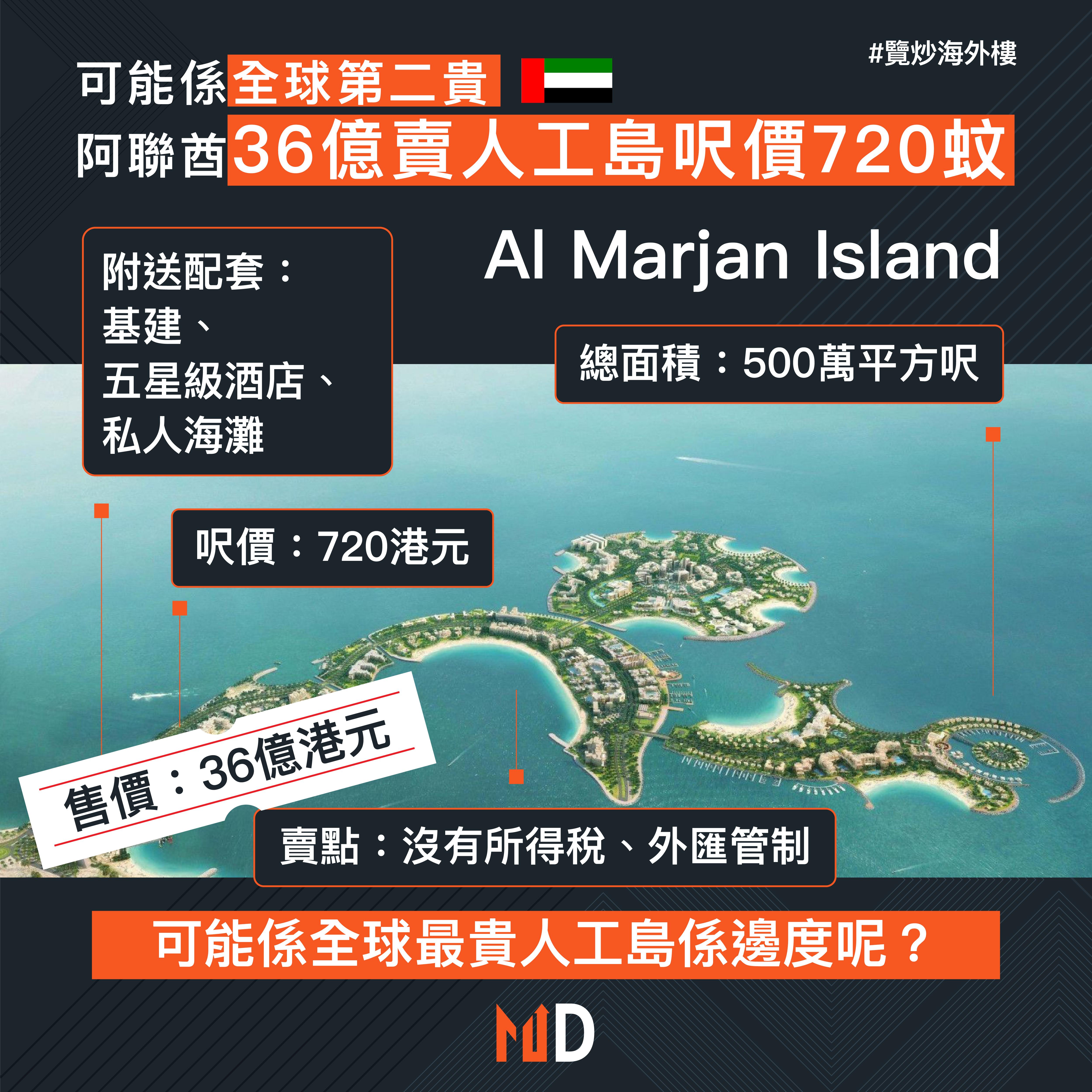 【覽炒海外樓】可能係全球第二貴 阿聯酋36億賣人工島呎價720蚊
