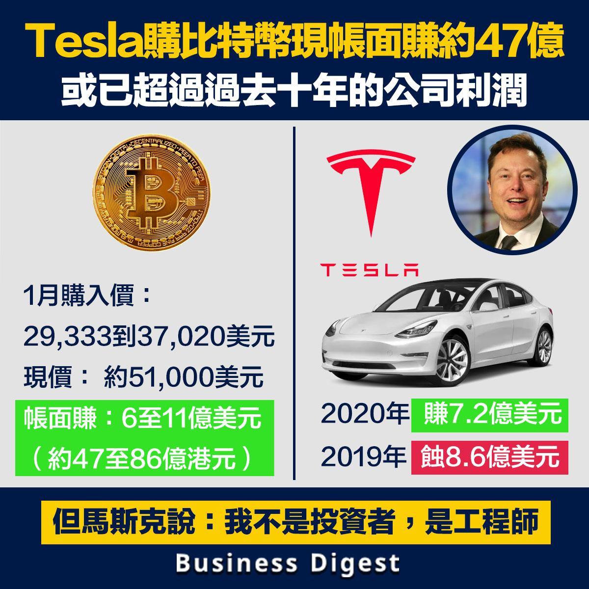 Tesla購入比特幣現帳面賺約47億,或已超過過去十年的公司利潤